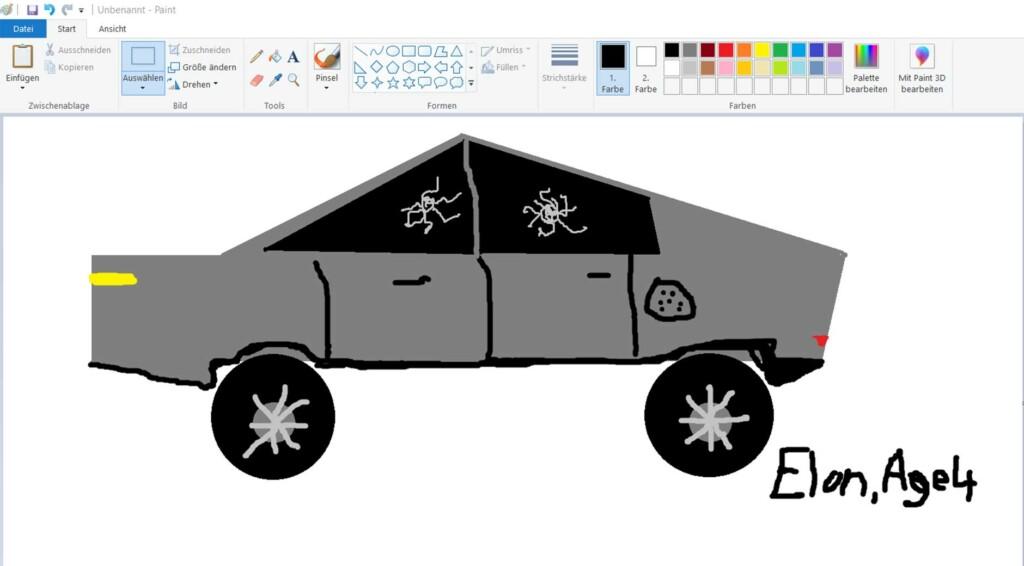 Wie viele sich den Designprozess von Teslas Cybertruck vorstellen (Zeichnung: Jana Höffner).